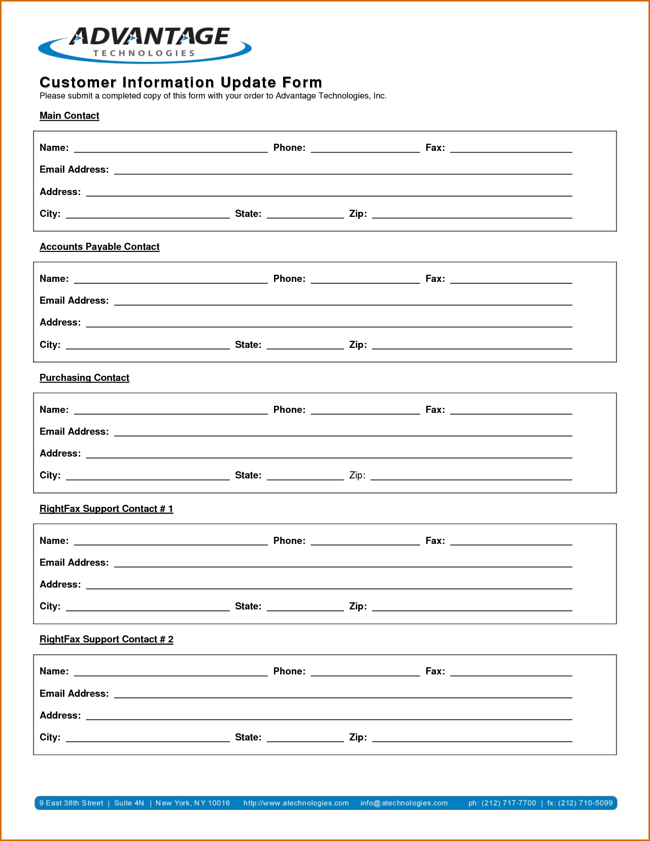 Customer Information Update Form Words Best Templates Excel Templates