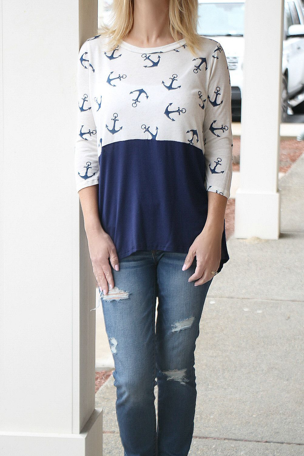 White & Navy Anchor Colorblock Tee TK1120 – Jenny Boston Boutique