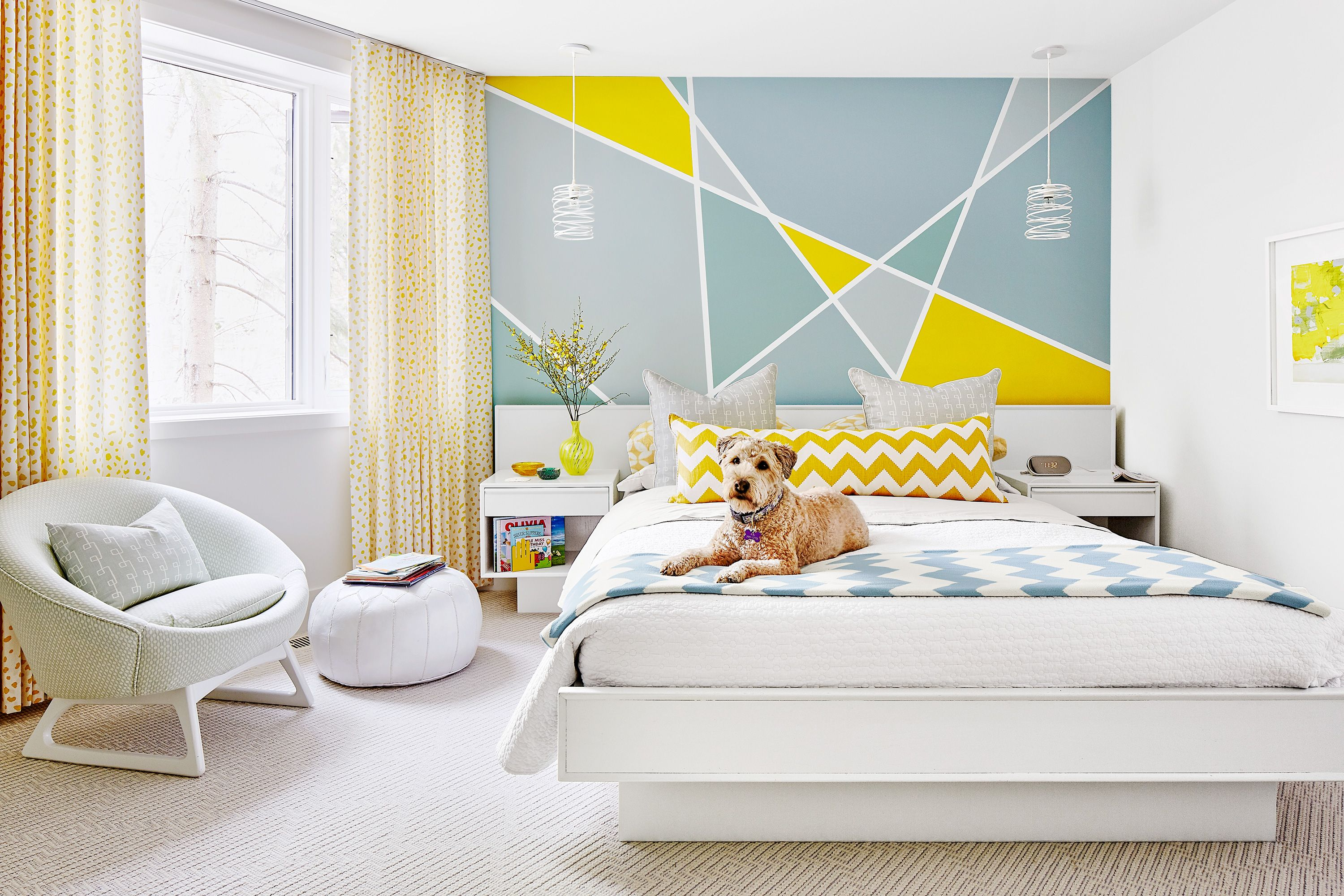 Paint A Simple Geometric Pattern On Your Bedroom Wall Bedroom Wall Wall Paint Designs Geometric Wall Paint