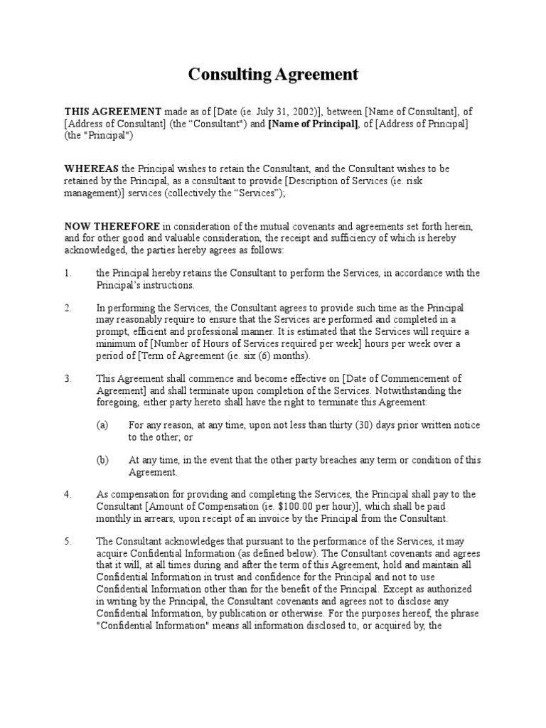 Consulting Agreement Template Consulting Agreement Short Form Confidentiality In 2021 Document Templates Agreement Templates