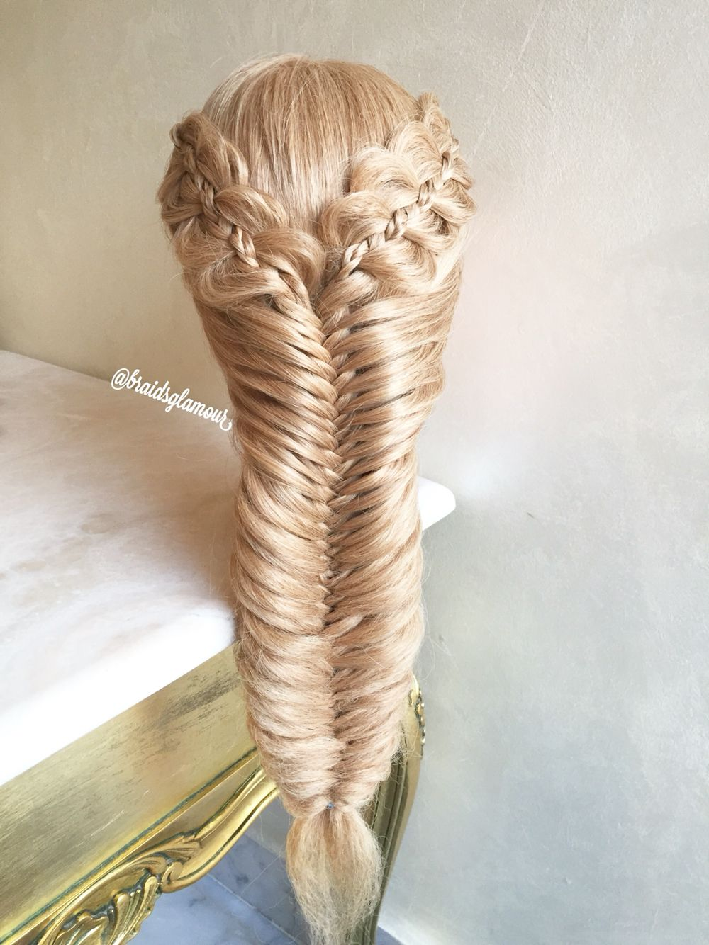 Four strands with micro braids into mermaid fishtail braid for Fish tail hair