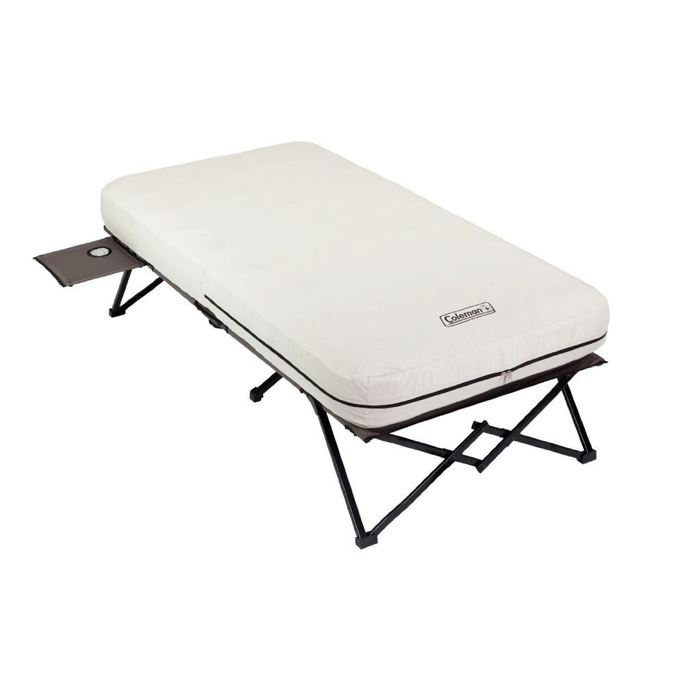 Twin Airbed Cot Side Tables Battery Pump Tenting Camping Extra Bed Backyard Air Mattress Camping Camping Cot Camping Bed