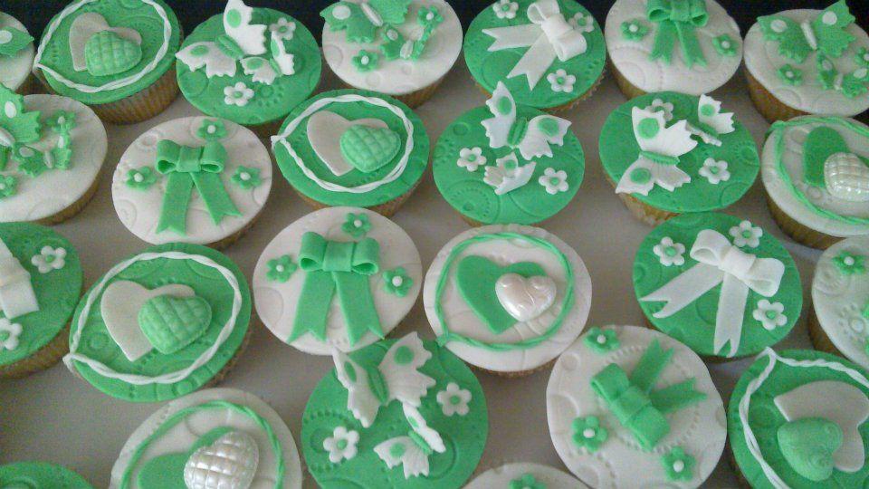 Wedding cakes green-white