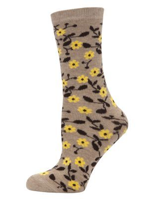 Brown Retro Floral Print Ankle Socks