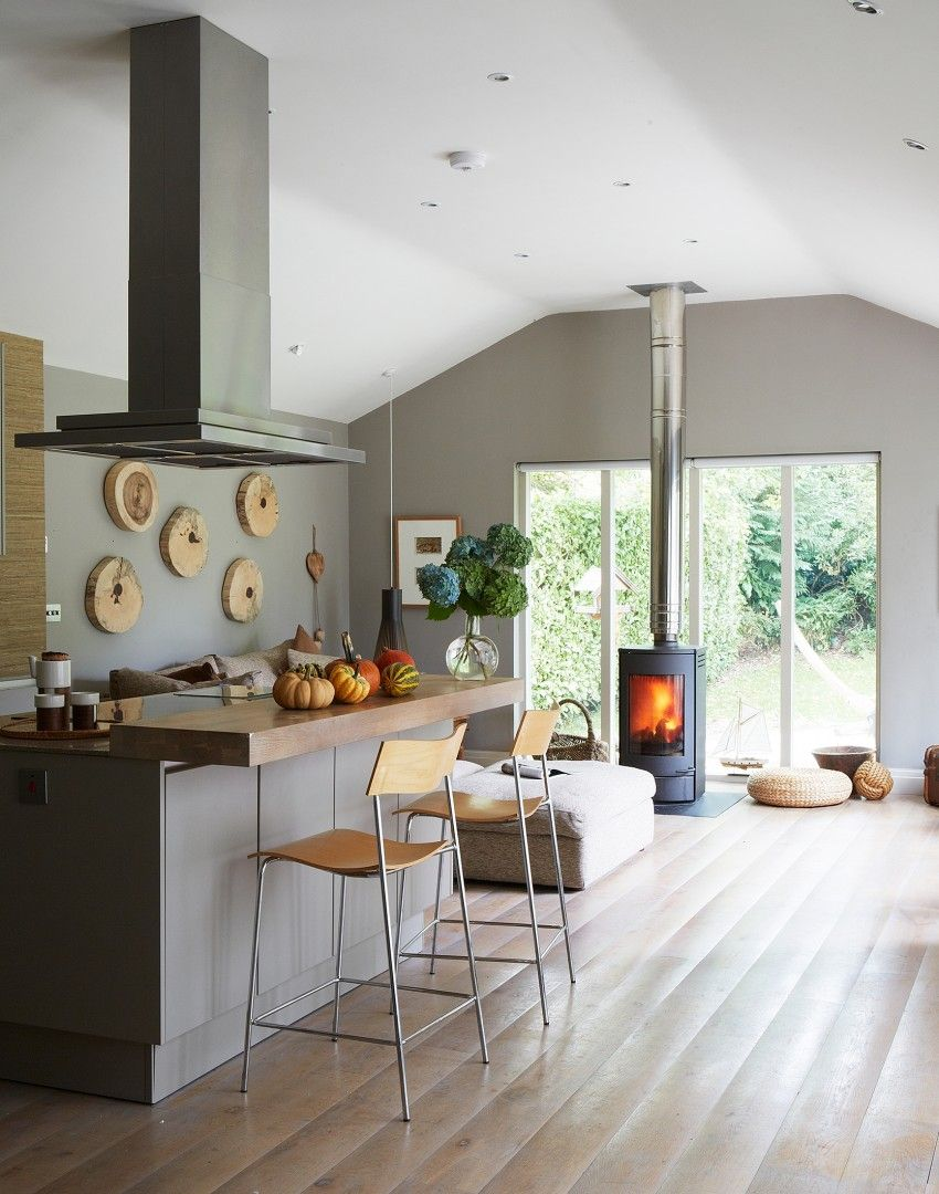 Modern Grey and White Kitchen with Statement Wood Flooring   The ...