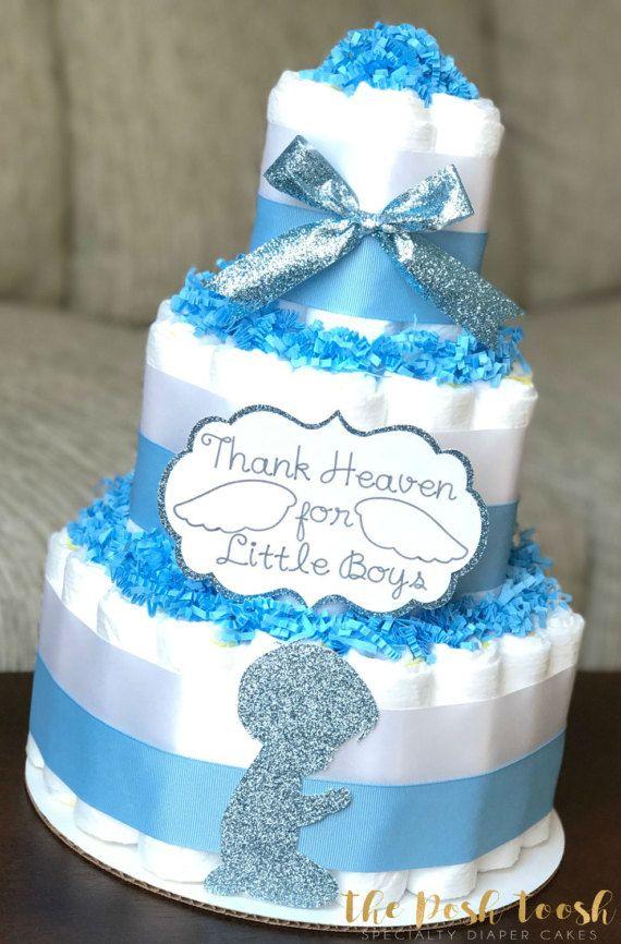Thank Heaven For Little Boys Diaper Cake Blue By