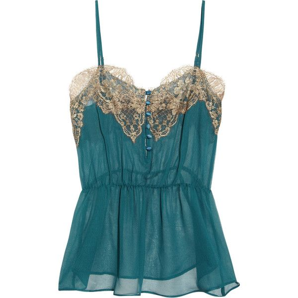 Rosamosario Classica Bellezza lace-trimmed silk-chiffon camisole ❤ liked on Polyvore