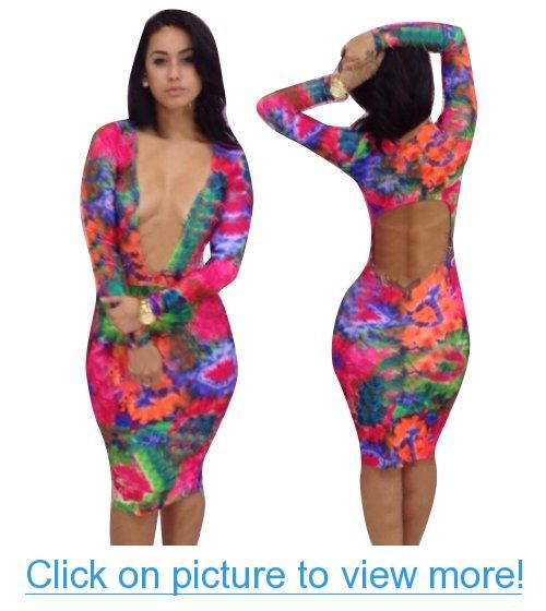 Tie Dye Glam Hollow Out Long Sleeves Clubwear Bandage ...