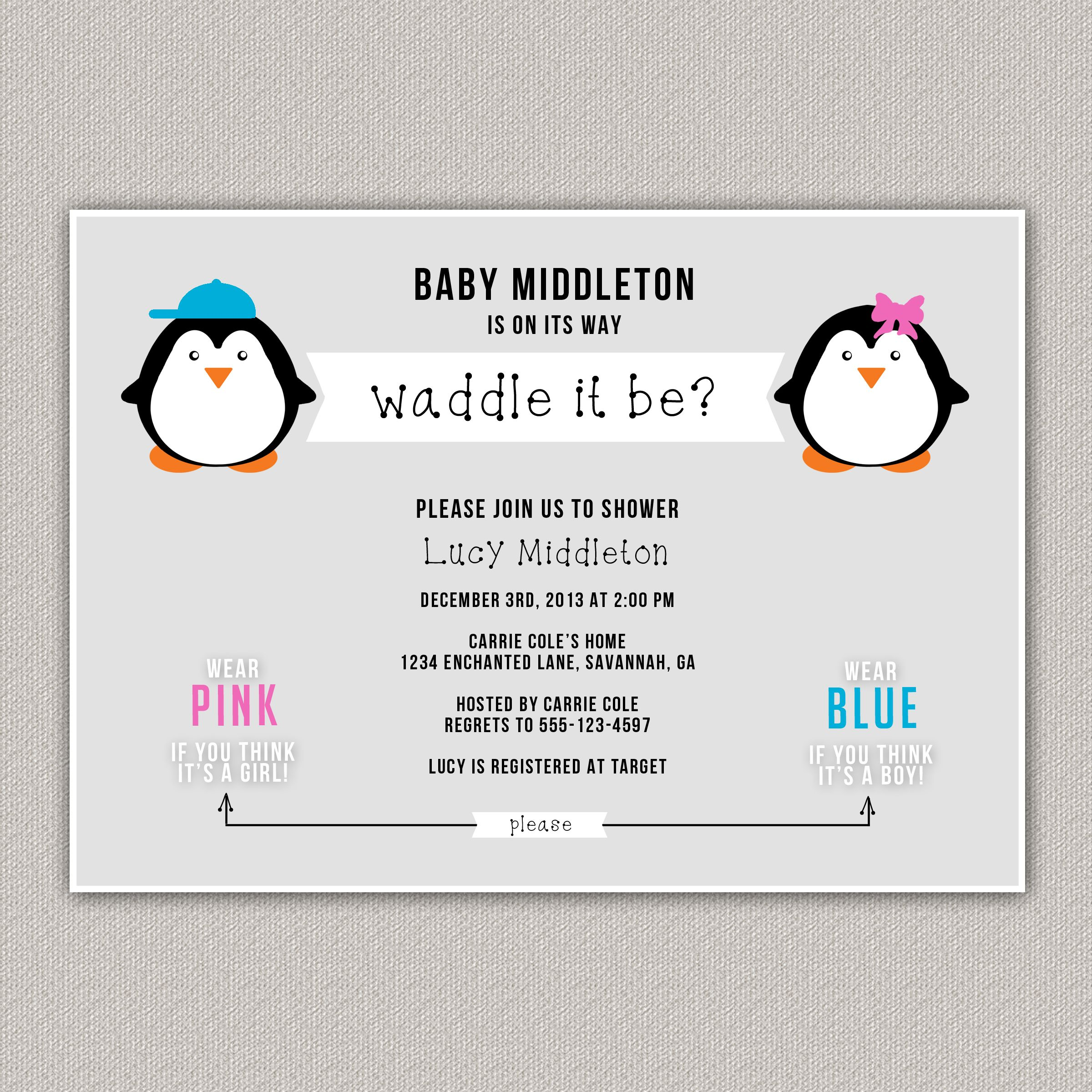 Waddle It Be Baby Shower Invitation, Guess the Gender Baby Shower ...