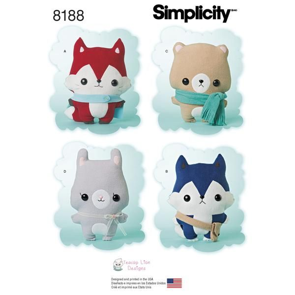 S8188 Stuffed Fox, Wolf, Bear & Bunny | Stuffed fox, Simplicity ...