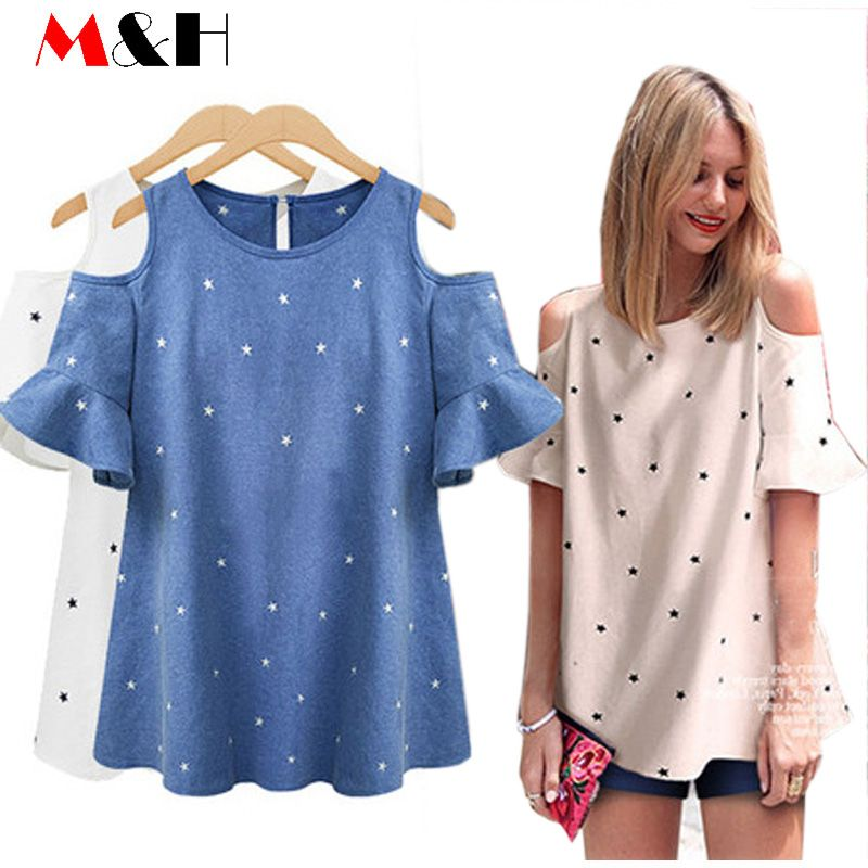 46f04f97827 XL-5XL Sexy Off Shoulder Top Blouse Plus Size Haut Femme Casual Women Shirts  2016 Summer Tops Loose Ladies Tops Blusa Feminino