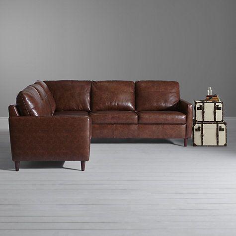 Buy John Lewis Dalston Leather Corner Unit Earth Bronx John Lewis Leather Sofa Bed Leather Sofa Corner Sofa Bed Uk