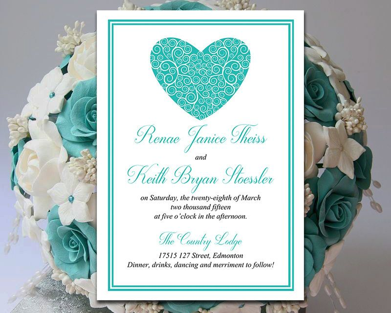 Heart Wedding Invitation Template Download - Teal Invitation Card - free invitation card templates for word