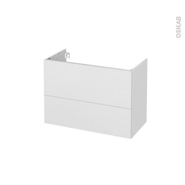 Meuble de salle de bains Sous vasque GINKO Blanc 2 tiroirs Côtés - Meuble De Salle De Bain Sans Vasque