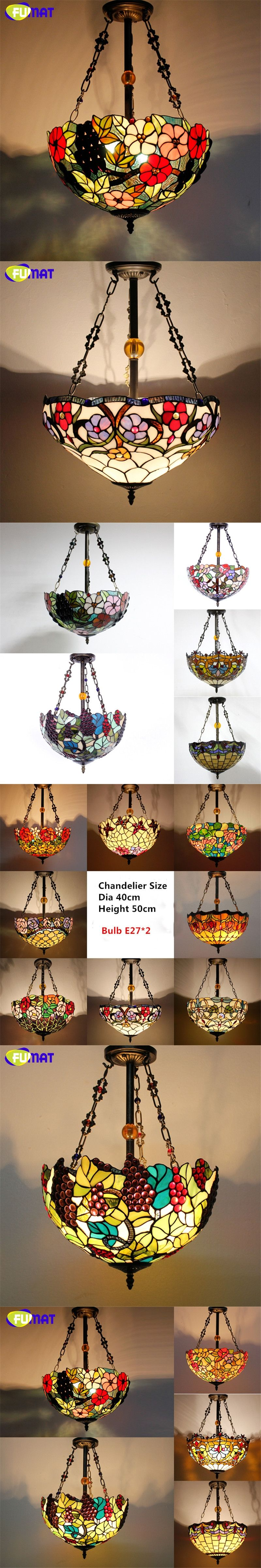 Fumat stained glass pendant lamp antique
