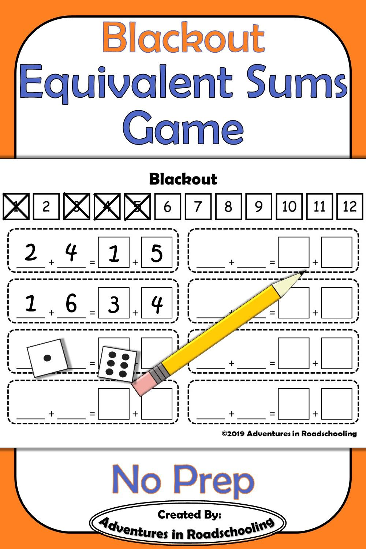 Blackout Finding Equivalent Sums Game First Grade Math Math Classroom Fact Fluency [ 1500 x 1000 Pixel ]