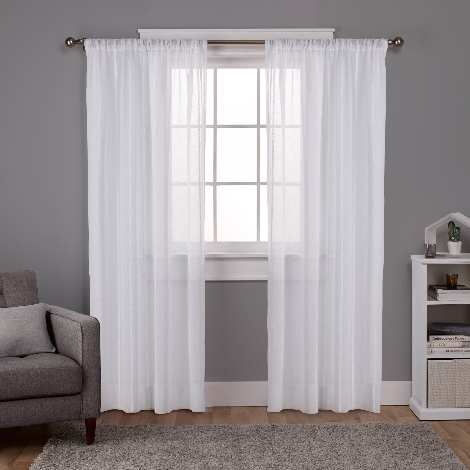 Exclusive Home Santos Embellished Stripe Textured Sheer Window