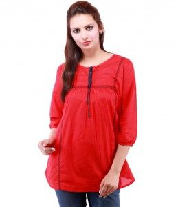9dc2cba1c8817 50% Off On Goodwill Impex Red Cotton Solids Regular Collar Top in Snapdeal  at Lowest Price