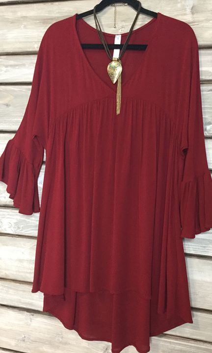 Our JOJO TUNIC in gorgeous RUBY!!!! Love this color; perfect for Fall and the Holidays!!!! Gorgeous and fun tunic!! S-XXXL; $36 http://www.paisleygraceboutique.com/collections/new-items/products/jojo-tunic-ruby