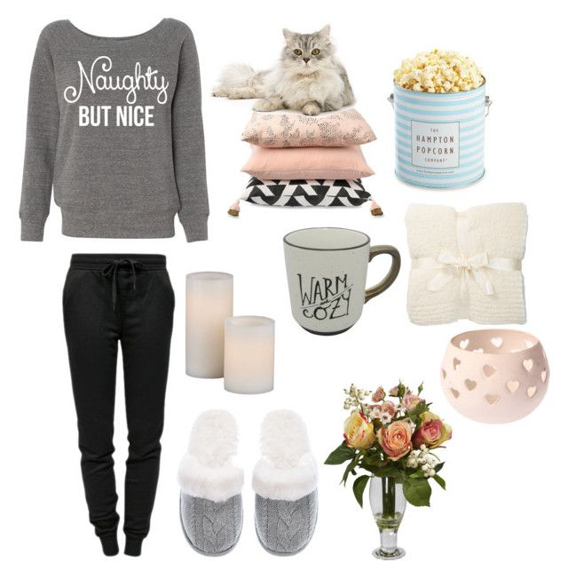 """""""Noughty but nice"""" by zuzikeckesova ❤ liked on Polyvore featuring T By Alexander Wang, Victoria's Secret, Nearly Natural, Sapota, The Hampton Popcorn Company and Barefoot Dreams"""