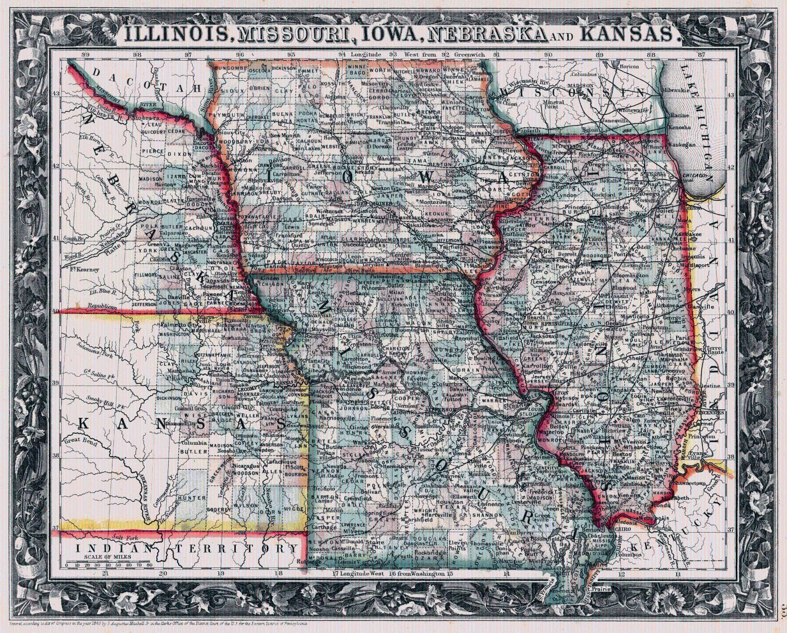 beautiful illinois iowa missouri map