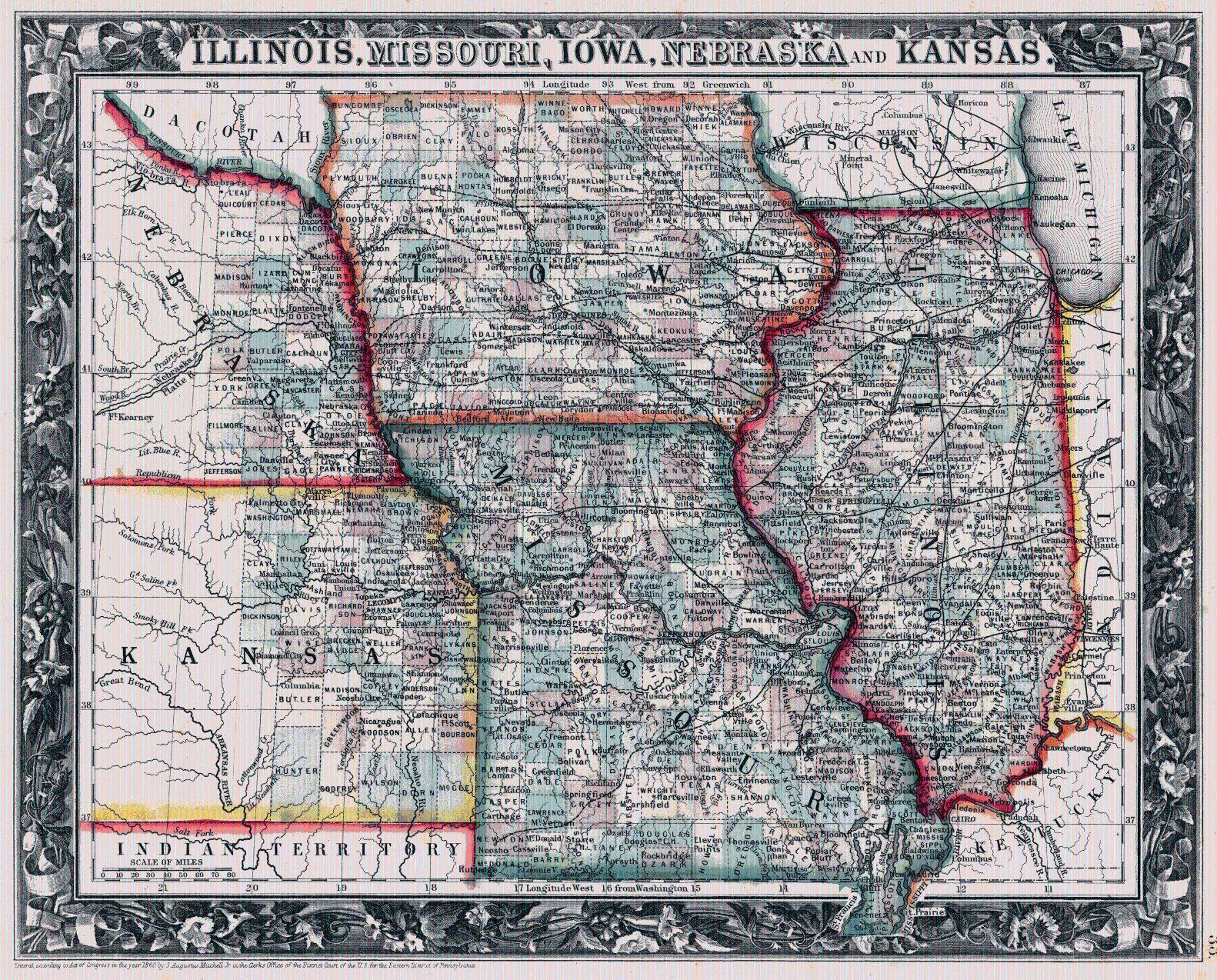 Illinois, Missouri, Iowa, Neska and Kansas. 1861. S. AUGUSTUS ... on maryland map, ohio s map, delaware map, utah s map,