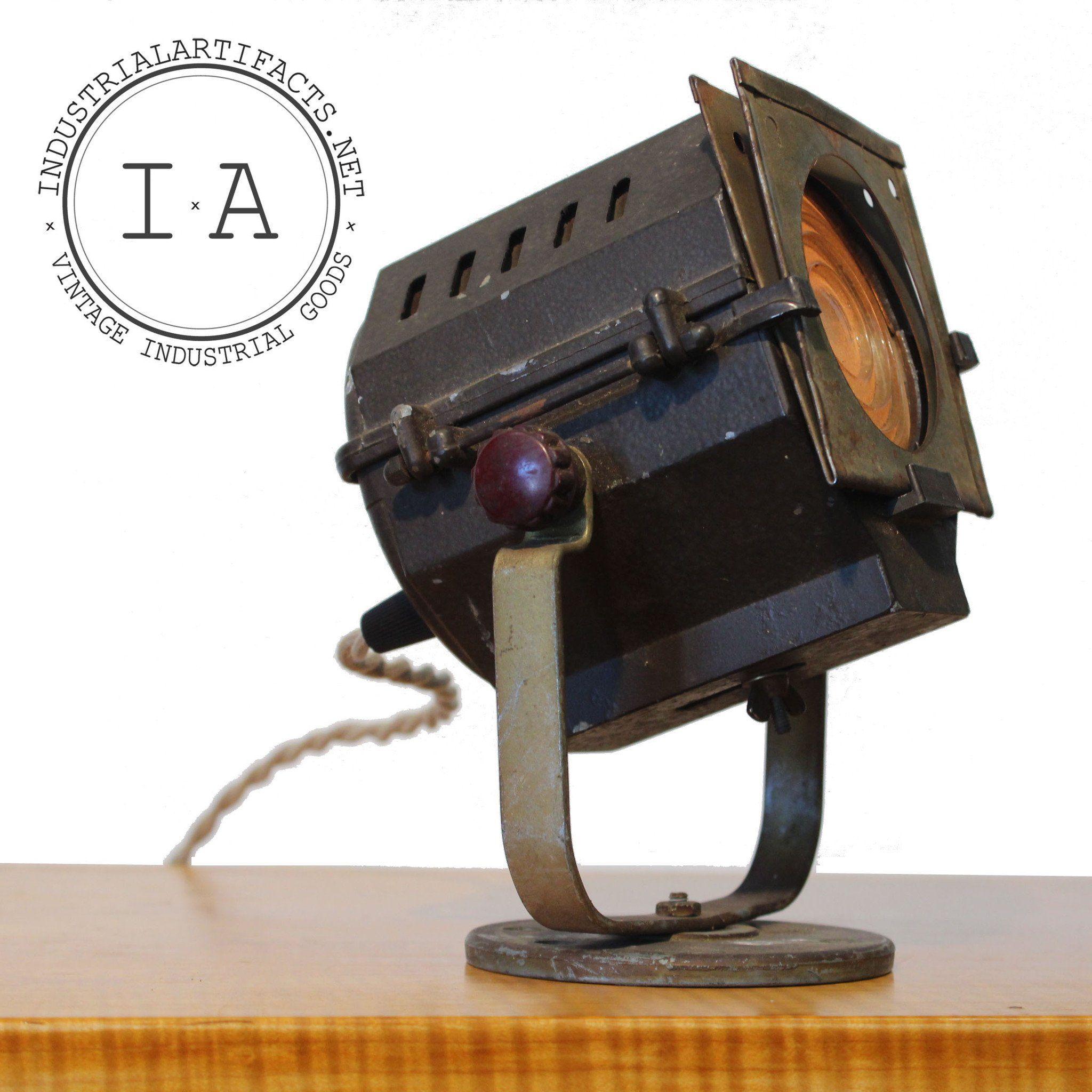 Small Decorative Spotlight: Vintage Industrial Movie Stage Photo Light Fresnel Lens