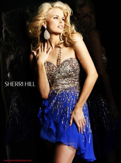 Sherri Hill Short Dress 8443 at Peaches Boutique