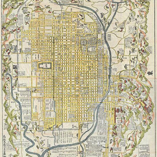 1696 Genroku 9 Early Edo Japanese Map Of Kyoto Japan Geographicus