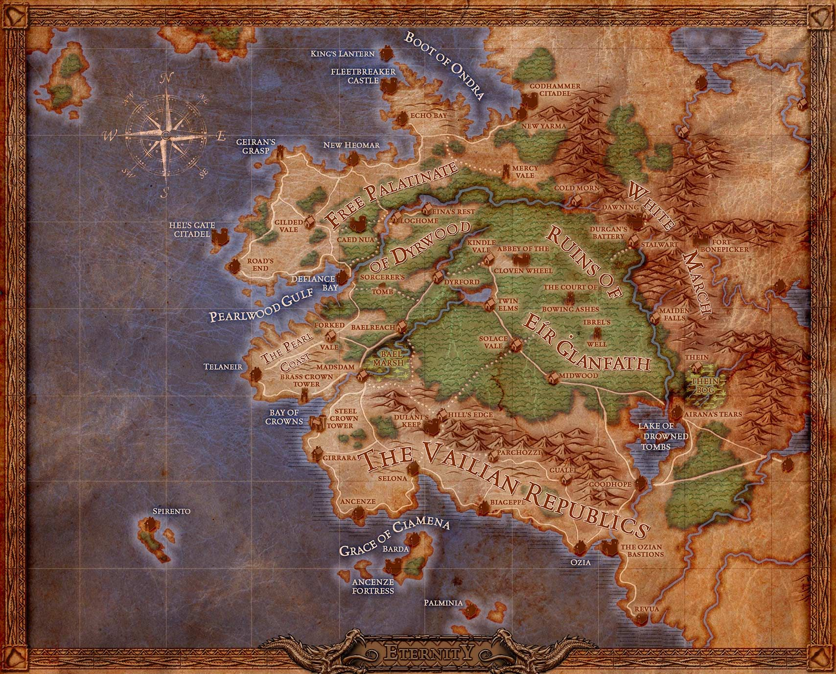 Mapa Pillars Of Eternity.Pillars Of Eternity World Map Pillars Of Eternity Fantasy