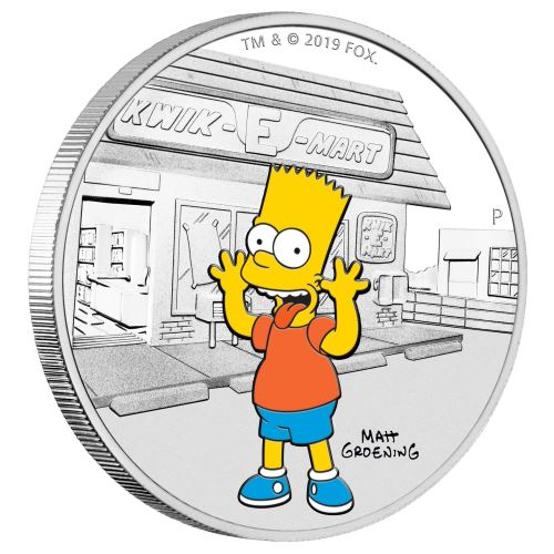 2019 TUVALU 2oz .9999 SILVER THE SIMPSONS FAMILY PROOF COIN WITH MINT BOX /& COA