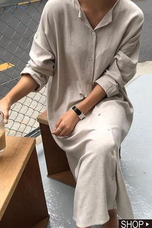 Long Sleeve Solid Casual V Neck Dresses 1