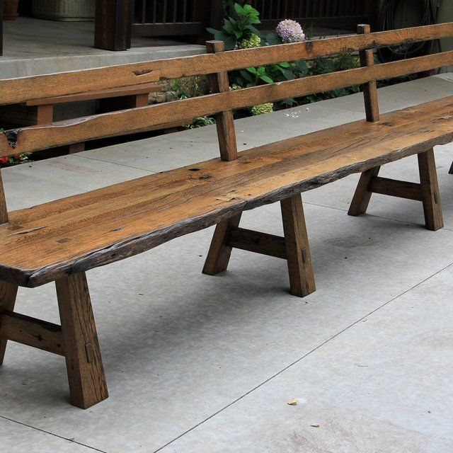 Live Edge Barn Wood Bench With Back Rest 15 Long Wood Bench