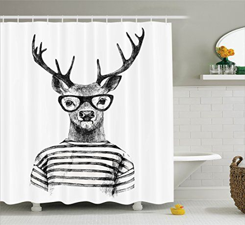 Bathroom Rugs Ideas Ambesonne Deer Decor Collection Dressed Up Reindeer Headed Human Hipster Style