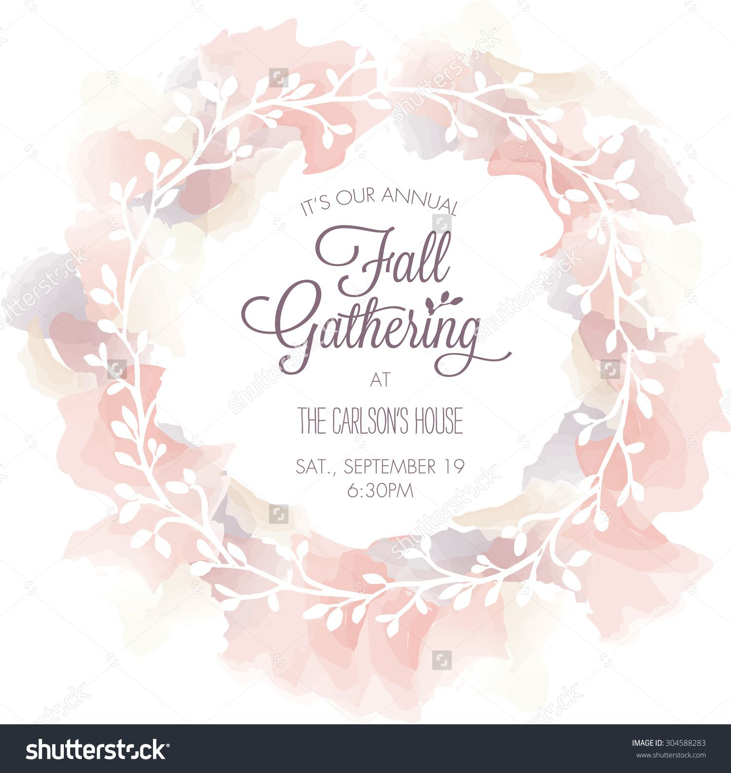 Fall gathering invitation template with watercolor wreath vector fall gathering invitation template with watercolor wreath vector stopboris Gallery