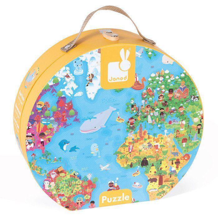 Suitcase Puzzle Giant World Pc - Magnetic us map puzzle janod