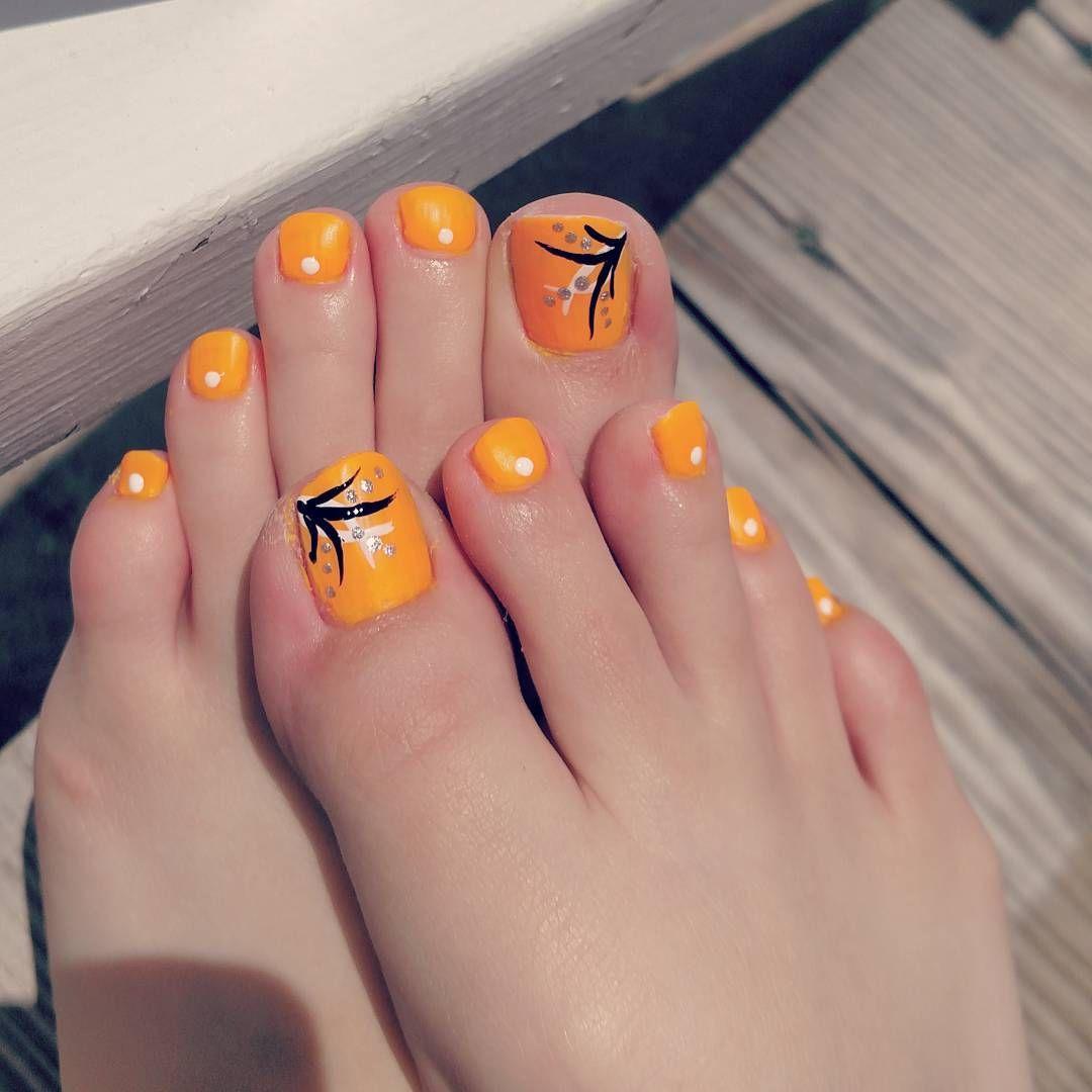Bright Orange Summer Toe Nail Design Nailart Follow Op Nail Art On Instagram Summer Toe Nails Toenail Designs Summer Toe Nail Designs
