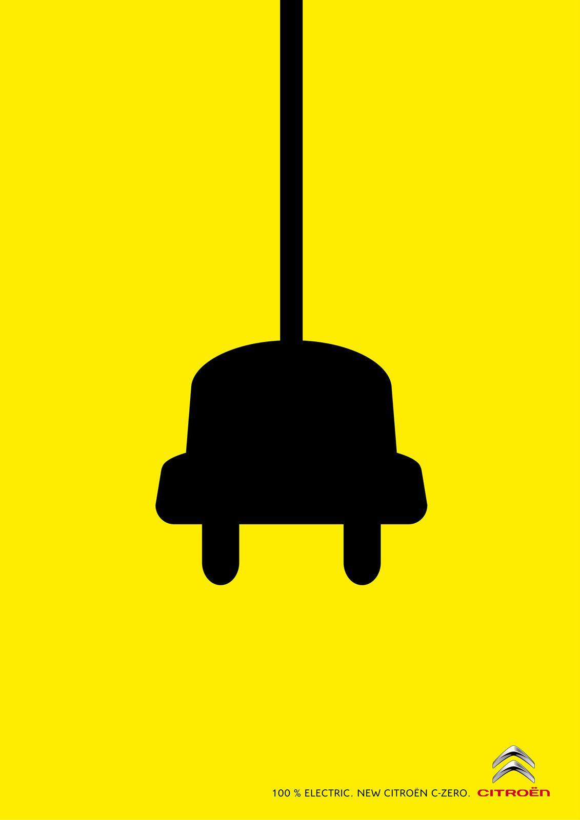 Citroen C Zero Electric Car Graphic Design Art Poster Art