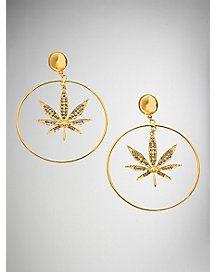 Gold Stone Leaf Hoop Earrings