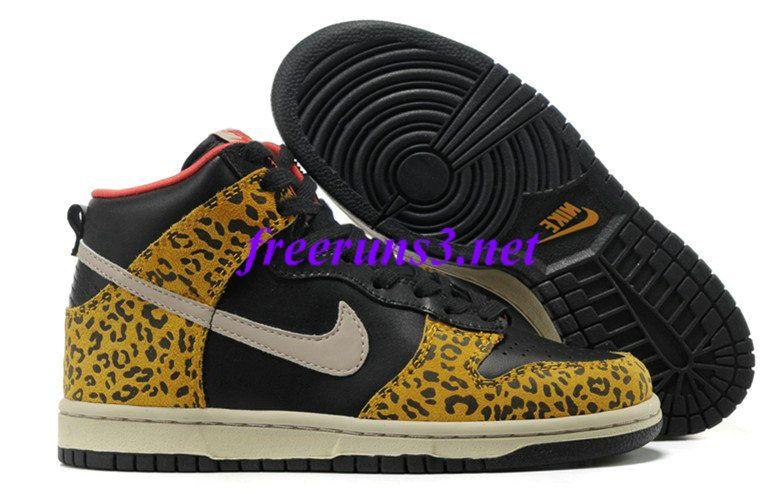52C8Jx Womens Nike Dunk High Skinny Leopard Black Sandtrap Dark Gold Leaf  Sunburst Skateboarding Shoes