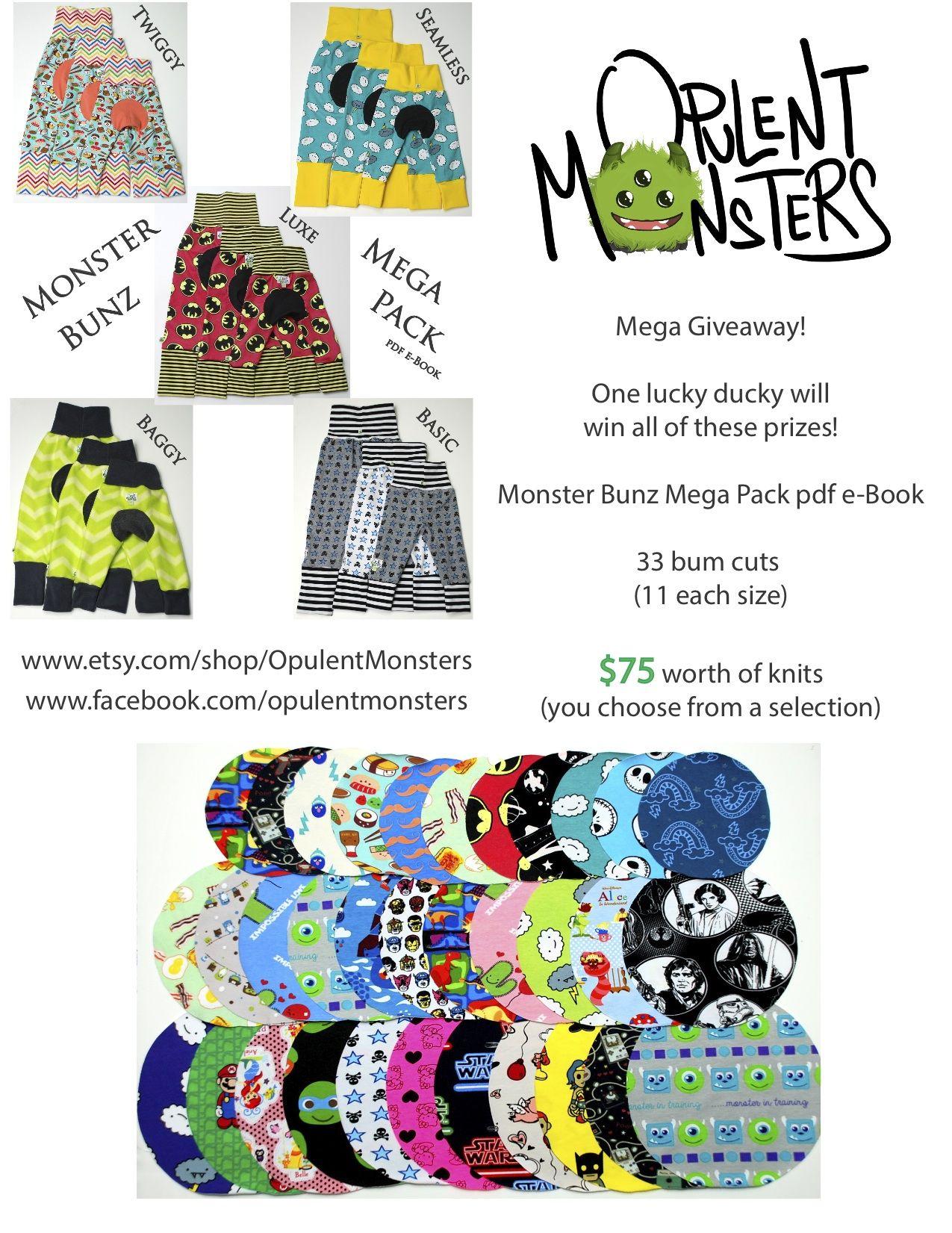 Mega Giveaway! Monster Bunz Mega Pack pdf sewing pattern, 33 bum ...