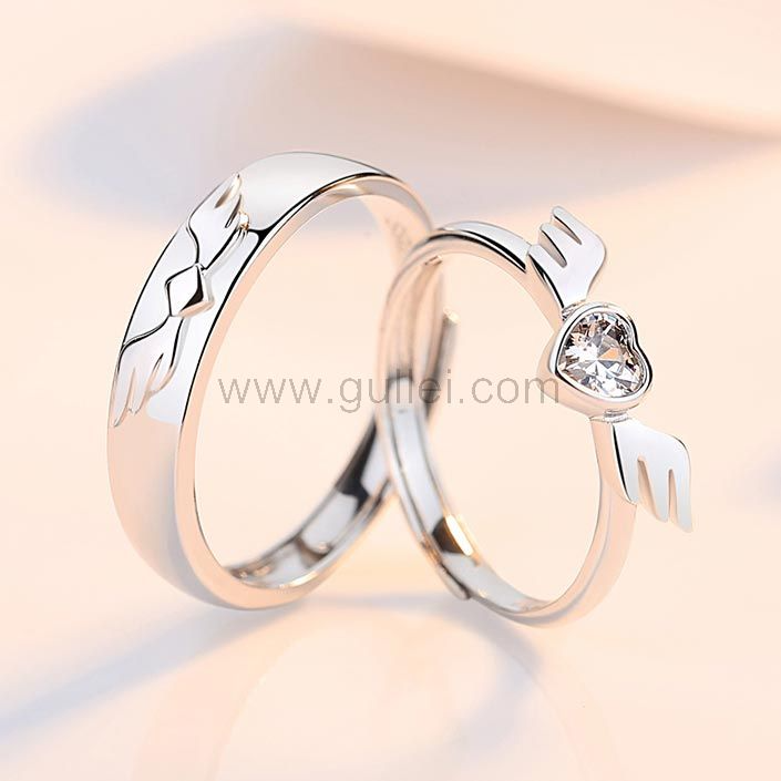 Heart Angel Wings Couple Promise Rings Set by Gullei.com Personalized Couples Gifts   Matching Necklaces & Bracelets   Custom Promise Rings