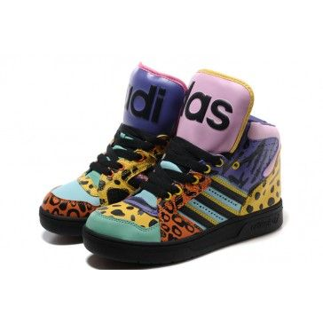 low priced f331f 02835 Colorful Adidas High Tops Leopard Big Tongue Shoes