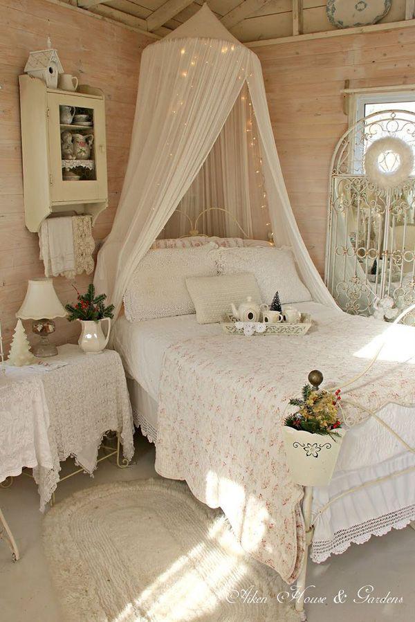 Himmelbett weiß romantisch  WarrenGroveGarden   shabby chic   Pinterest   Schlafzimmer, Wohnen ...
