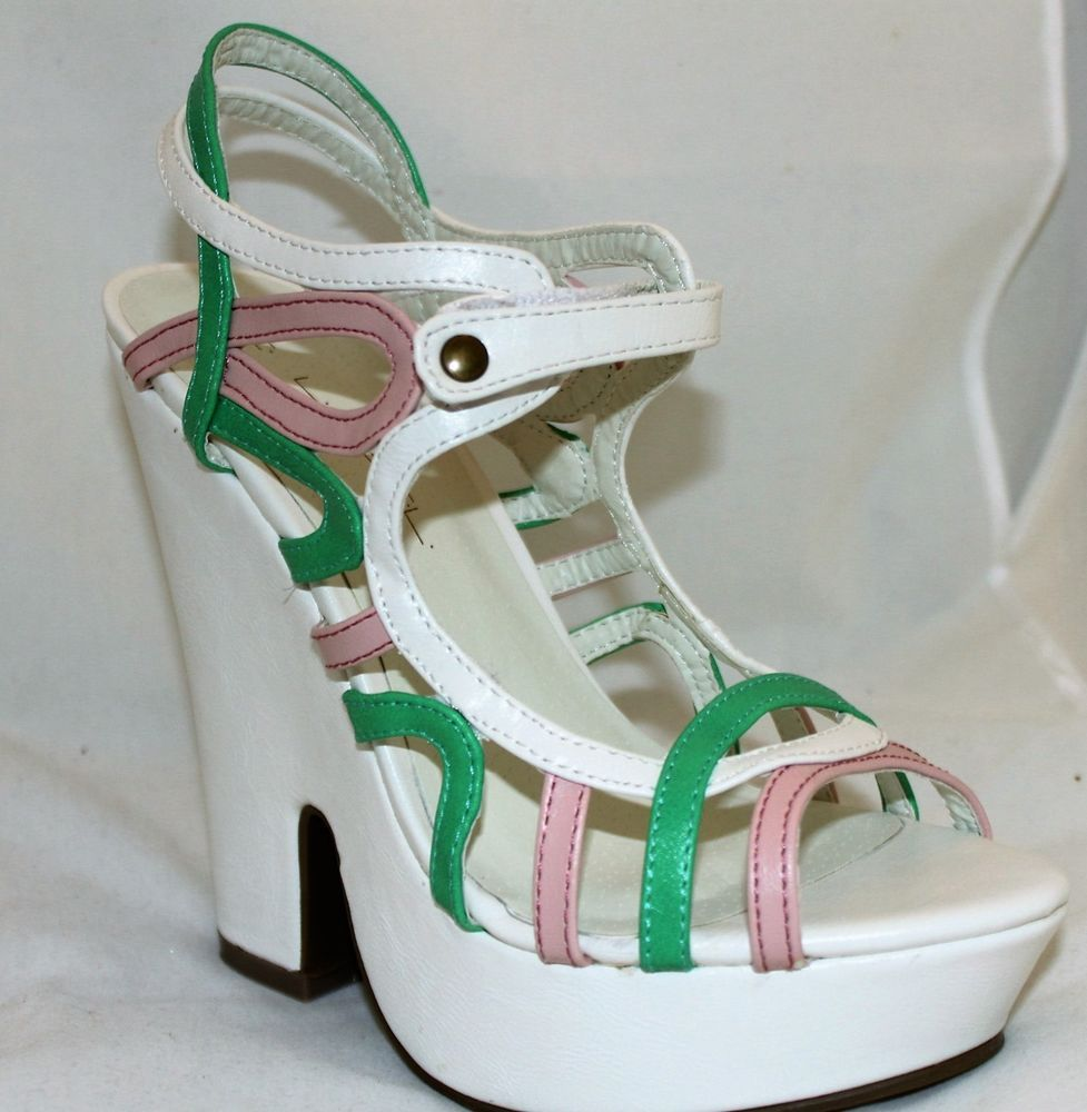f4d9ac19855 Platform Sandals Strappy Chunky Heels White Pink Green Color Block Women s  Shoes  CLABEL  PlatformsWedges