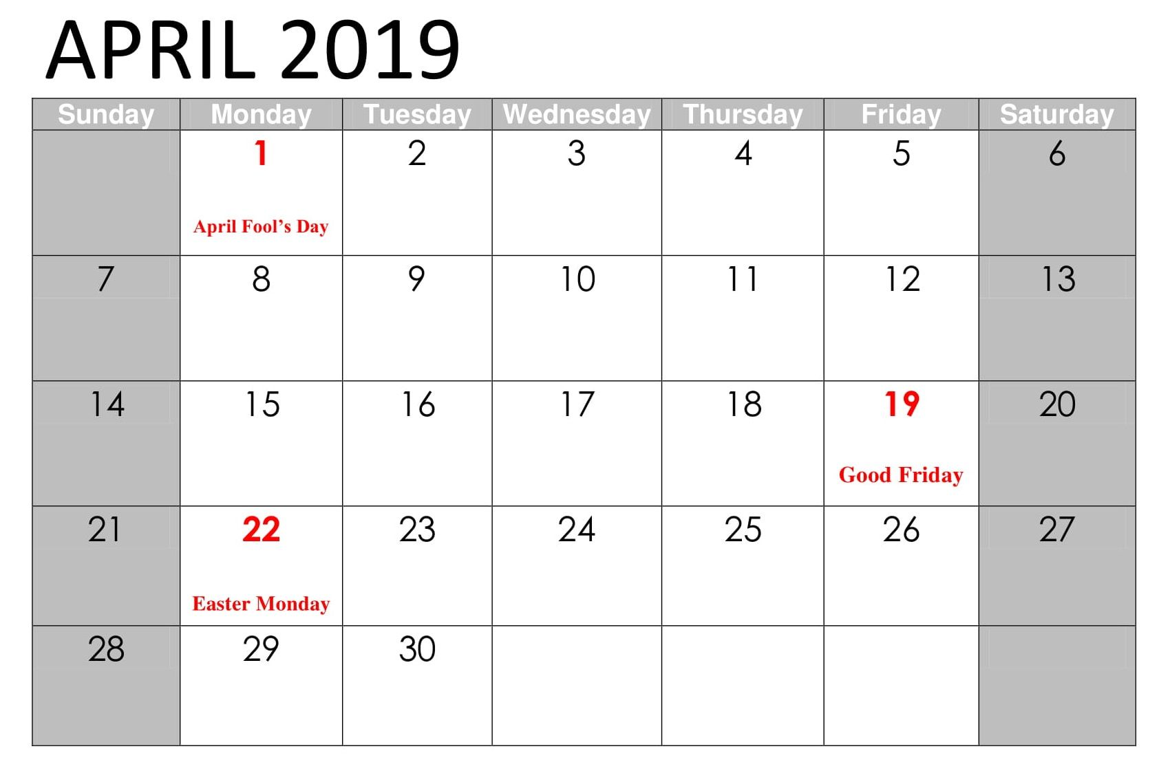 April 2019 With Holidays Canada Calendar Calendar Printables