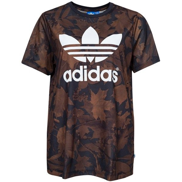 538ab498 Adidas Originals Leaf Bf Tee (€47) ❤ liked on Polyvore featuring tops, t-shirts,  multicolour, womens-fashion, oversized tee, oversized tops, brown t shirt,  ...