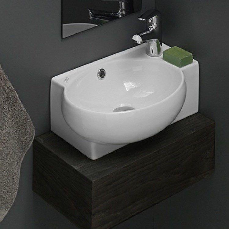 17 5x11 Cerastyle By Nameeks 001300 U Mini 17 1 2 L 1 Hole Ceramic Bathroom Sink In Whit Ceramic Bathroom Sink Corner Sink Bathroom Wall Mounted Bathroom Sinks