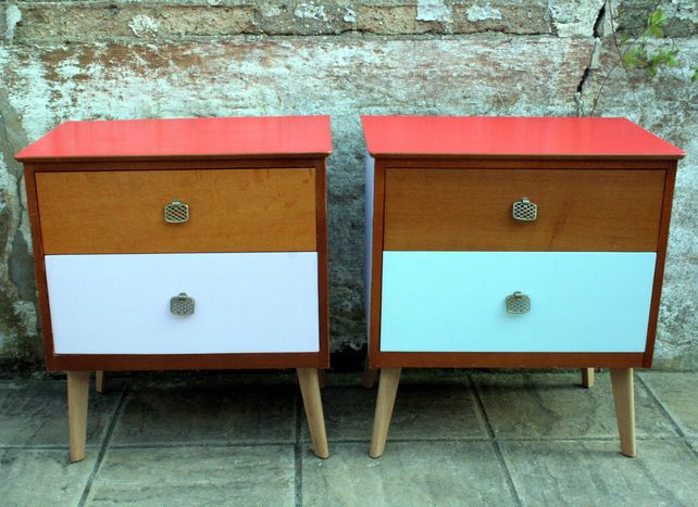 Upcycled vintage retro teak 1960s style chest of drawers