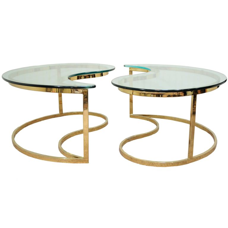 Pair Hollywood Regency Yin Yang Brass Plated End Coffee Tables